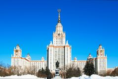 Main building of Moscow State University city background. Hd horizontal orientation vivid vibrant color bright spacedrone808 rich composition design concept royalty free stock images
