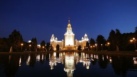 The Main Building Of Moscow State University On Sparrow Hills at Night, Russia stock video footage