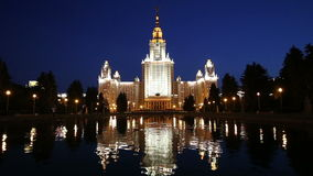 The Main Building Of Moscow State University On Sparrow Hills at Night, Russia stock footage