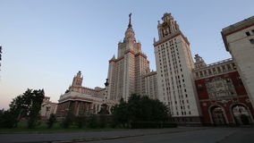 The Main Building Of Moscow State University On Sparrow Hills, Russia stock video