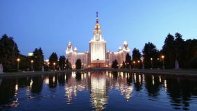 The Main Building Of Moscow State University On Sparrow Hills, Russia stock footage