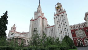 The Main Building Of Moscow State University On Sparrow Hills, Russia stock video footage