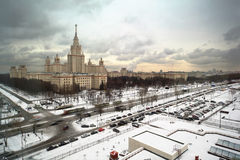 Main building of Moscow State University at winter Royalty Free Stock Photo