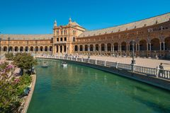 Main building at Spain Square, Plaza de Espana, in Sevilla royalty free stock images