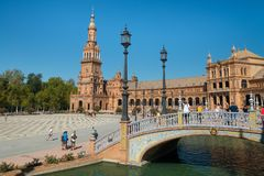 Tower and main building at Spain Square, Plaza de Espana, in Sevilla stock images