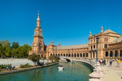 Main building at Spain Square, Plaza de Espana, in Sevilla royalty free stock photos