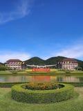 Main building of Thai university. Main building at entrance of Thai university, Chiangrai, Thailand Stock Photo