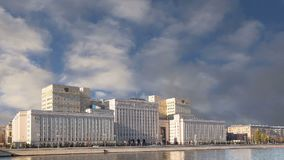 Main Building of the Ministry of Defence of the Russian Federation Minoboron, day. Moscow, Russia. Main Building of the Ministry of Defence of the stock video