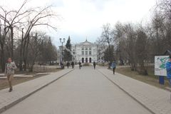 The main building of Tomsk State University in Russia by spring stock photography