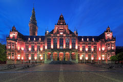 Main building of the University of Groningen at evening, Netherl Stock Photo