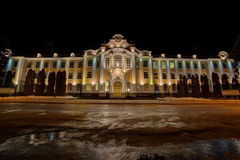 Main building of Voronezh State Agricultural University  named after Emperor Peter the Great at night Royalty Free Stock Photography