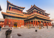 Main builings of the Yonghegong Lama temple complex in Beijing Stock Image