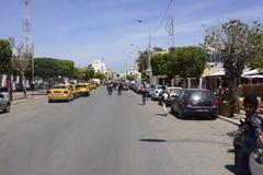 Main Busy Street near Djerba Market, Tunisia, North Africa Stock Image