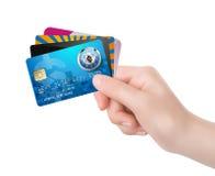 Main - carte de visite professionnelle de visite dans des vos mains photo stock