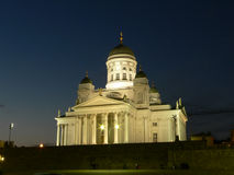 Main cathedral of Helsinki. Finland in night stock photos