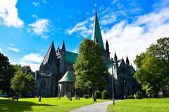 The main cathedral of Trondheim. In Norway royalty free stock photography