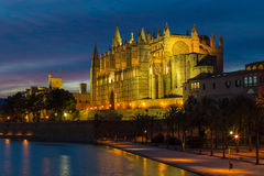 Main catherdal of Palma de Mallorca at dusk. Main catherdal of Palma de Mallorca called La Seu at dusk Royalty Free Stock Photo