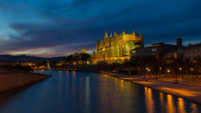 Main catherdal of Palma de Mallorca at dusk. Main catherdal of Palma de Mallorca called La Seu at dusk Stock Photos