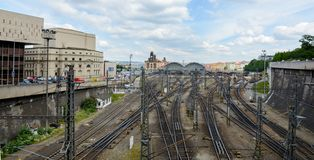 The main central railway station is the largest and most important railway junction of Prague and the whole of the Czech Republic royalty free stock photos