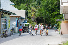 The main central street on the island of La Digue near the La Passe village centre. Royalty Free Stock Photo