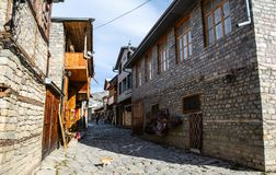 Main central street of Lagich - a town in the Ismailly region, Azerbaijan. Lagich is a notable place in Azerbaijan, with its authentic handicrafts traditions royalty free stock photos