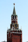 The main chimes countries Russia. Main astronomical clock, the clock of the country of Russia are arranged on the Spasskaya tower in the center of red square in Stock Photos