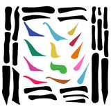 Main Chinese hieroglyphs calligraphy graphic symbol colored element frame set HORIZONTAL, VERTICAL, FALLING RIGHTWARDS and UPPING stock images