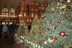 The main Christmas tree in Moscow Russia foto area the red square Royalty Free Stock Photo