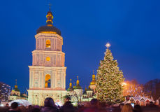 Main christmas tree and sofia church in Kyiv, Ukraine Royalty Free Stock Photos