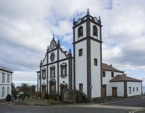 The main church of Nordeste on the island of Sao Miguel with christmas decoration and creche in the Azores, Portugal. The main church of Nordeste on the island royalty free stock image