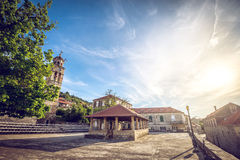 Main church square of Blato village in Croatia Royalty Free Stock Images