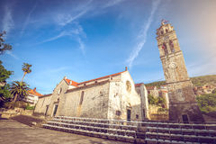Main church square of Blato village in Croatia Royalty Free Stock Photography