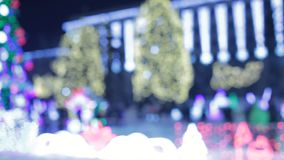 Main city Christmas tree with blue lights and garlands at night. illumination Xmastree Loop. The Street Of The City On. The Eve Of Christmas. Set Of Holiday stock footage