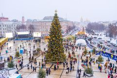 The main city Christmas Tree in the middle of St Sophia Square. KIEV, UKRAINE - JANUARY 4, 2017 Royalty Free Stock Images