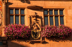 Main City Clock and Facade at Rathaus in Heilbronn, Germany Royalty Free Stock Photos