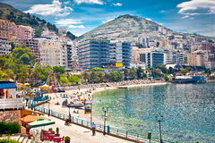 Main city promenade in Saranda, Albania. royalty free stock photo