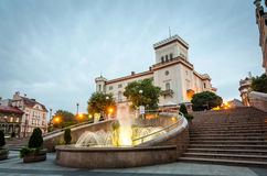 Main city square in Bielsko-Biala with fountain in front of Sulkowski castle Stock Images