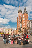 Main City Square in Krakow, Poland Royalty Free Stock Photo