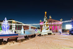 The main city square with New Year's illumination. Royalty Free Stock Image