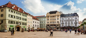 Main City Square in Old Town in Bratislava, Slovakia Royalty Free Stock Images