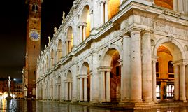 Main city square and palladian basilica with tower at night in V. Icenza Italy Royalty Free Stock Photo