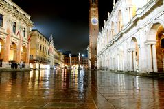 Main city square and palladian basilica with tower at night in V. Icenza Italy Royalty Free Stock Photography