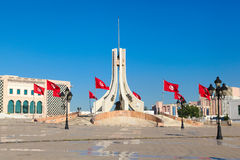 Main city square in Tunis. The capital city of Tunisia, on the shore of Afica Stock Photo