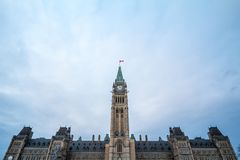 Main clock tower of the center block of the Parliament of Canada, in the Canadian Parliamentary complex of Ottawa, Ontario. stock image