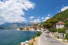 Main coastal road in old Perast, Bay of Kotor Royalty Free Stock Image