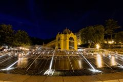 Main colonnade and singing fountain at night - Marianske Lazne - Czech Republic royalty free stock photo