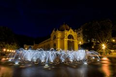 Main colonnade and singing fountain at night - Marianske Lazne - Czech Republic stock image