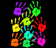 Main colorée d'impression Photo libre de droits