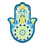 Main colorée de hamsa de Lineless dans des tons bleus et verts Images libres de droits