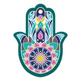 Main colorée lineless de hamsa de vecteur Photos libres de droits